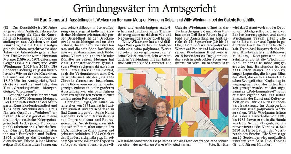 Quelle: Cannstatter / Untertürkheimer Zeitung 21.09.2016